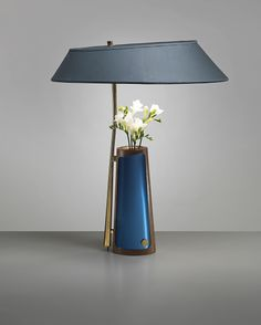 Max Ingrand for Fontana Arte; table lamp with integrated vase, brass, glass and enameled metal, Italy, 1957 Interior Lighting, Modern Lighting, Lighting Design, Luxury Lighting, Light Table, Lamp Light, Design Light, Fabric Lampshade, Mid Century Lighting