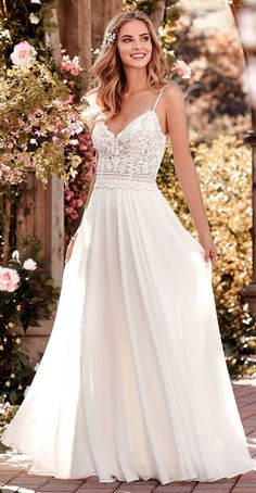 Rebecca Ingram - JUNIPER, This chiffon boho-inspired wedding dress features a sheer bodice accented in beaded lace.