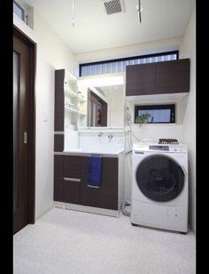 マイホーム 洗面所窓3 | ハッピー子育てブログ Dream Home Design, House Design, Old Farm, Clothes Line, Washroom, Stacked Washer Dryer, Modern Interior Design, Decoration, Light Colors