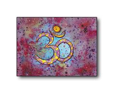 Om Sign Symbol Meditation Art, Original Drawing, Yoga Wall Decor, Om Watercolor Painting, Om illustration, Energy wall decor, Spiritual art by DHANAdesign on Etsy
