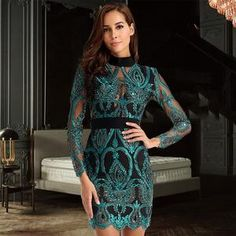 2018 New Women Dress Long Sleeve Hollow Out Celebrity Lace Evening Party  Dresses Sexy Club Vestidos Ladies Clothing f304a2cc1783