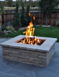 "Fire Pits can be constructed out of many types of materials. Strip stone is a type of flagstone that is cut into 8"" strips and is used in this fire feature. All of our fire features come with a gas adjustment valve to increase or decrease the size of the flame. The feature allows the client to adjust the flame and heat to the type of entertaining that they are having."