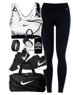 """Outfit for the gym"" by ferned ❤ liked on Polyvore featuring NIKE, Fitbit, Casetify and Forever 21"