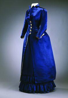 A Stunning Dark RoyalBblue Victorian Dress & Matching Coat  --  1880  --  Via the Musee du Costume et de la Dentelle  --  Brussels, Belgium