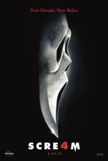 Scream 4 (2011), Dimension Films, Corvus Corax Productions, and Outerbank's Entertainment with Neve Campbell, Courteney Cox, and David Arquette. More of the fun.