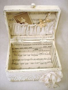 Up cycle a plain old box with discarded newspaper or old sheet music, rescued lace and broken jewellery