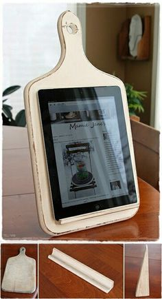Tablet holder in cutting board. Great idea for a sign holder in kitchen or culinary stores #DIY #project #tablet #holder #ipad