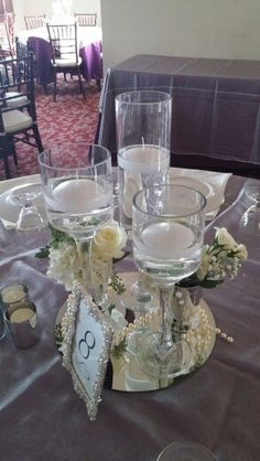 Centerpiece with silver accents