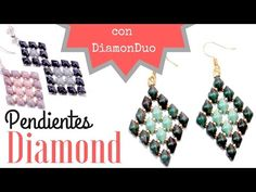 Como hacer unos Pendientes Diamond con cuentas DiamonDuo - Tutorial con plantilla - YouTube Seed Bead Earrings, Beaded Earrings, Beaded Jewelry, Boho Jewelry, Diamond Earrings, Unique Jewelry, Jewelry Making Tutorials, Beading Tutorials, Beading Patterns