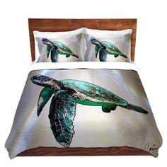 Sea Turtle 2 Duvet Cover by Artist Corina Bakke by CorinaGallery on Etsy