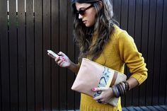 patchwork bag and wooden bracelets Mustard Sweater, Yellow Sweater, Spring Summer Fashion, Autumn Fashion, Underwater Wallpaper, Hot Pink Nails, Gussied Up, Cute Handbags, Fashion Games