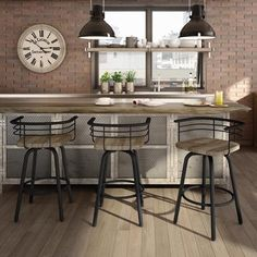 Carbon Loft Amisco Brisk Swivel Metal Counter Stool With Distressed Wood Seat ( Unique Bar Stools, Rustic Stools, Metal Counter Stools, Swivel Bar Stools, Metal Stool, Kitchen Stools, Kitchen Island, Kitchen Peninsula, Basement Kitchen
