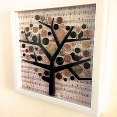 Button Tree - Button Art - Vintage Buttons Musical Décor in Framed Shadow Box