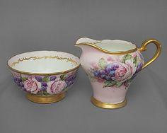 Aynsley vintage china milk jug & sugar bowl pink by VintagePlazaUK, £42.50