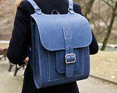 "Blue Leather Backpack 15.6"" , Big Handmade Rucksack"