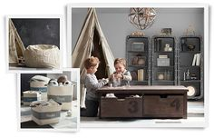 I ♡ restoration hardware! Industrial playroom. Awesome toy canvas totes.
