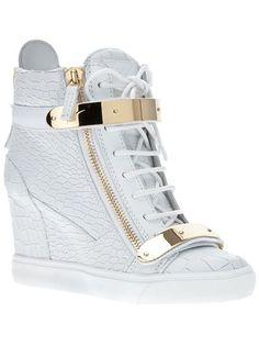Giuseppe Zanotti Design Metallic Wedge Hi-Top Trainer Giuseppe Zanotti Sneakers, Giuseppe Zanotti Design, White Wedge Sneakers, Leather Sneakers, Wedge Heels, Shoes Sneakers, High Heels, Cute Shoes, Me Too Shoes