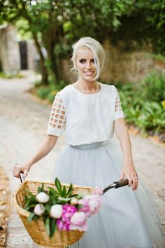 cropped white top + tulle skirt