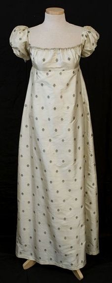 Silk dress with metallic brocaded star design. 1810 Vintagetextile.com