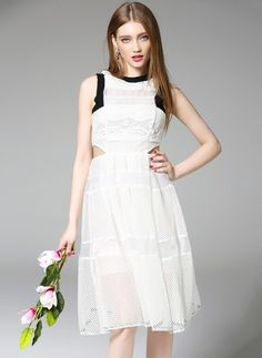 0bc8812d602ab0 White Cotton Dress Cotton Polyester Solid Sleeveless Knee-Length Casual  Dresses White Cotton Summer Dress