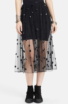 Free People Sequin Polka Dot Mesh Skirt available at #Nordstrom