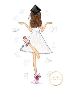 Graduation wall art print by Alison B illustration collegegraduationgifts This .Graduation wall art print by Alison B illustration collegegraduationgifts This is a congratulations card for a new graduate featuring my original hand sketched fashion art. Graduation Cartoon, Graduation Drawing, Wedding Dress Illustrations, Personalized Graduation Gifts, Girly Drawings, Hand Sketch, Fashion Sketches, Art Girl, Fashion Art
