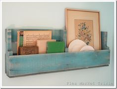Pallet Board Shelf (with watered down paint)...great place to display inspirational sewing books & patterns