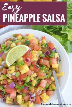 This Fresh and Easy Pineapple Salsa recipe only requires 6 ingredients and 15 minutes to make. It's the perfect appetizer for your next party and would also go great on some super delish fish tacos for a little crunch. So good! Click through to get the recipe! // (paleo, vegetarian, vegan, gluten free, dairy free, whole 30)