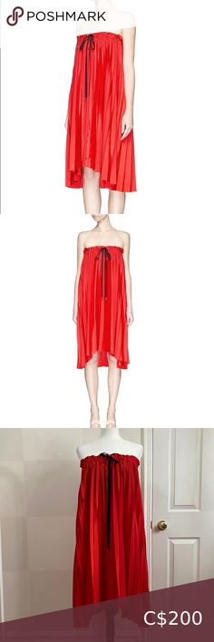 """Victoria Victoria Beckham Washed Tafetta Red Dress Flame red pleated strapless dress by Victoria Beckham's diffusion line Black drawstring accent at the front (only for decoration, can't adjust the fit of the dress) Two back zips with a hook closure for the inside layer and for the outside Unlined US 6 FLAT MEASUREMENTS: Chest: 15"""" Length: 35"""" Victoria Beckham Dresses Strapless Black Corset Top, Blue Denim Skirt, Mesh Dress, Dress Size Chart Women, Victoria Beckham, Strapless Dress, White Dress, Mini Skirts, Closure"""