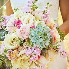 Beautiful bouquet of flowers and succulents  @wincoholland on Instagram. #wedding #flowers