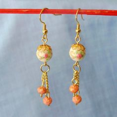 Earrings Glass Roses Upcycled Vintage Lampwork  by GypsythatIwas, $14.00