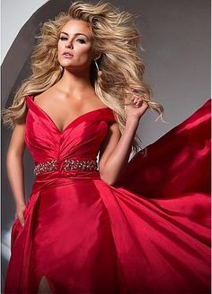 Amazing Taffeta Off-the-shoulder A-Line Evening Dresses With Beads & Rhinestones