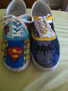 Superman vs Batman personalized canvas shoes <3