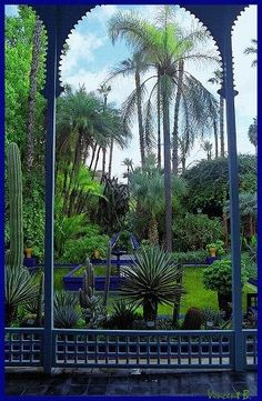 (Majorelle Garden) In addition to housing the Islamic Art Museum of Marrakech, the garden also features fountains and marble pools in a picturesque setting. (No link)