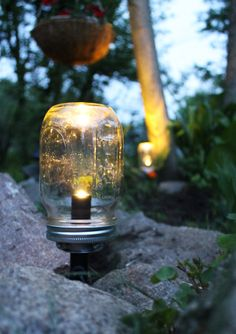 Solar Powered Mason Jar Lights - Eco Friendly Summer Nights Renewable Outdoor Energy - Lawn and Garden Lights - BootsNGus Design Collection. $55.00, via Etsy.