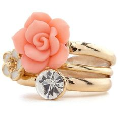 Stackable Blossom Ring Set ($5) ❤ liked on Polyvore
