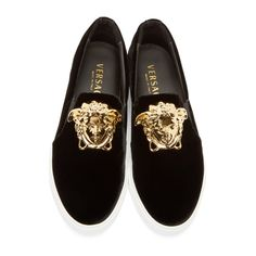 Versace Black Velvet Medusa Sneakers
