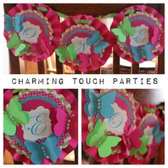 Custom pink, green and aqua rosette butterfly high chair bunting (you pick colors) on Etsy, $27.00