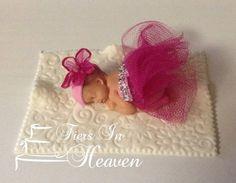 TUTU BABY SHOWER Cake Topper Fondant Cake by BabyCakesByJennifer, $28.00
