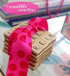 DIY scrabble coasters - fun gift. I LOVE this idea.