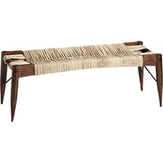 wrap bench in ottomans, benches | CB2    This reminds me of the chairs that my great grand ma had with the jute weaving it takes me back .