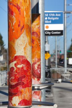 Bullseye Studio collaborated with TriMet and artist Lynn Basa to translate her paintings into glass mosaics for stations along the new Portland-Milwaukie light rail transit line.
