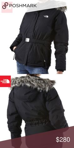 The North Face | Greenland Parka North Face Belted Parka. Waterproof, breathable. Attached, adjustable, insulated hood with faux fur trim. Centre front zipper & velcro closure. Two slanted hand pockets- Internal media pocket. Attached waist belt with buckle. 550 fill goose down. Worn for one season, some lint on Velcro closures. No rips, stains, or major flaws. The fur is in great condition. The North Face Jackets & Coats