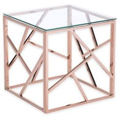 Modern Tempered Glass and Polished Stainless Steel Square Side Table - Rose Gold - ZM Home : Target Rose Gold Rooms, Rose Gold Decor, Gold End Table, End Tables, Pink Table, Rose Gold Side Table, Modern Furniture, Home Furniture, Table Furniture