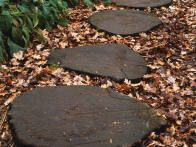 A path created with bark chips and log rounds blends perfectly into a woodland setting.