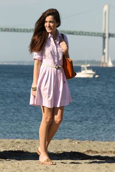 Oxford Shirt Dress: Brooks Brothers. // Leather Tote:  Frank Clegg. // Sandals:  Jack Rogers. // Braided Belt:  J. Crew.