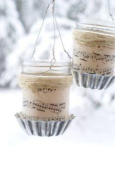 Mason jar music sheet lantern