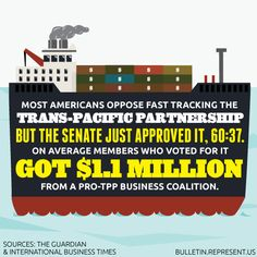 Pro-TPP Contributions to Senators Totals $1.1 Million (Guess who's not on the list & also opposed TPP) #FeelTheBern