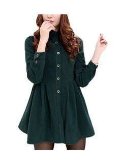 ARJOSA Women's Long Sleeve Button Down Shirts Blouses Flared Dresses (XS, #1 Green). ARJOSA womens fashion designer corduroy polyester made T shirt flared mini dress with button down front open design, very stylish. Design with multiple color and size available, THICKENED ones with Extra fleece lined keeping you warm in cold season. Suitable to wear on different occasions, easy to fit with other clothes and accessories. NOTICE: NOT exactly Standard US size runs bit of tight. Please select...