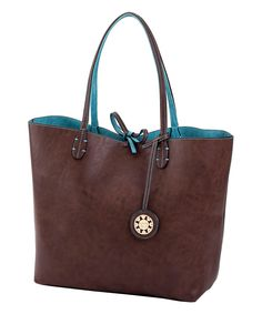 Another great find on #zulily! Sydney Love Brown & Turquoise Reversible Tote by Sydney Love #zulilyfinds